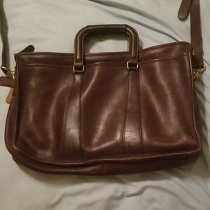 Coach brown leather laptop bag